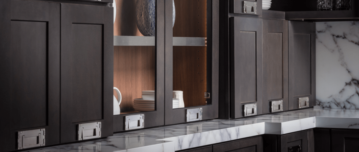 Pull Out Cabinets with Glass Door