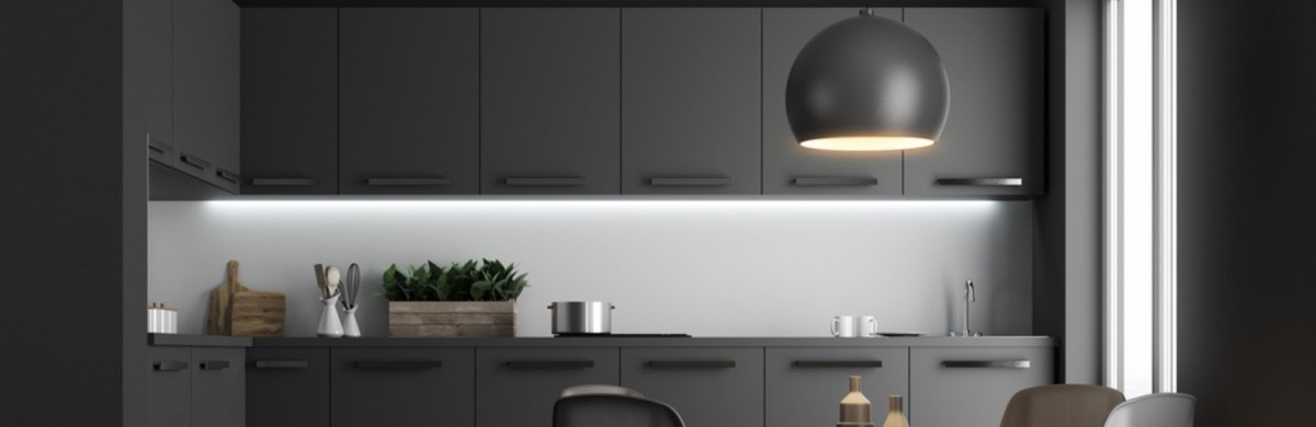 Modern Kitchen with Black Light Hanging Over
