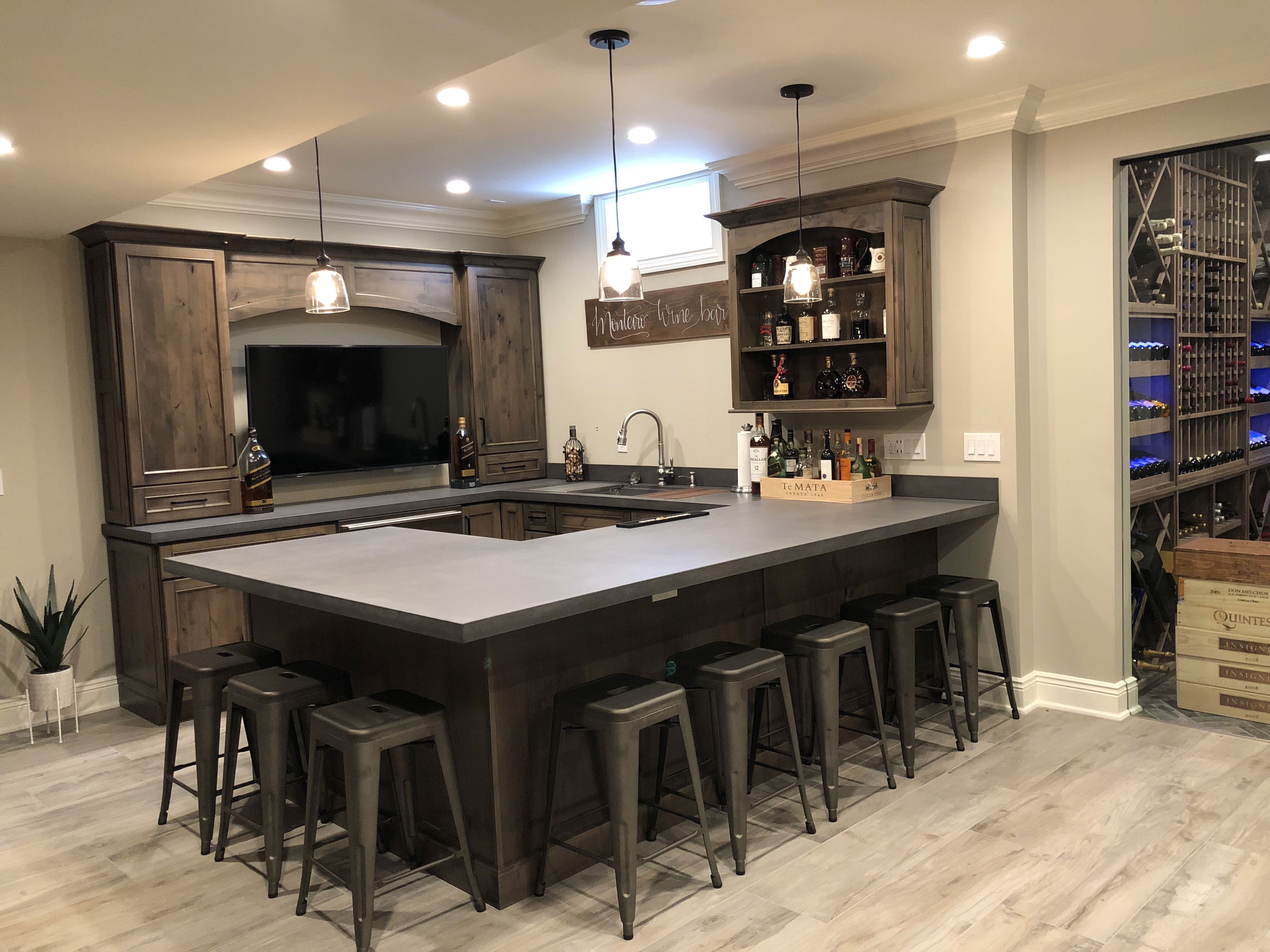 Kitchen Bar with Liquor Glass on Top