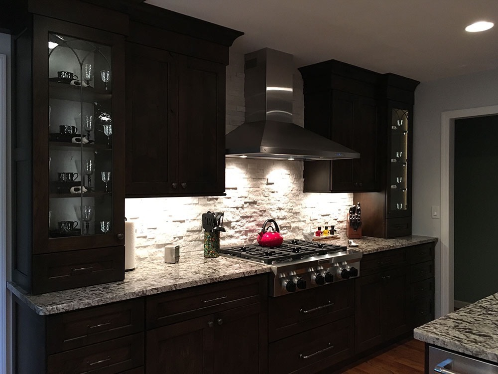 Modern Kitchen with Glass Cabinet Teapot