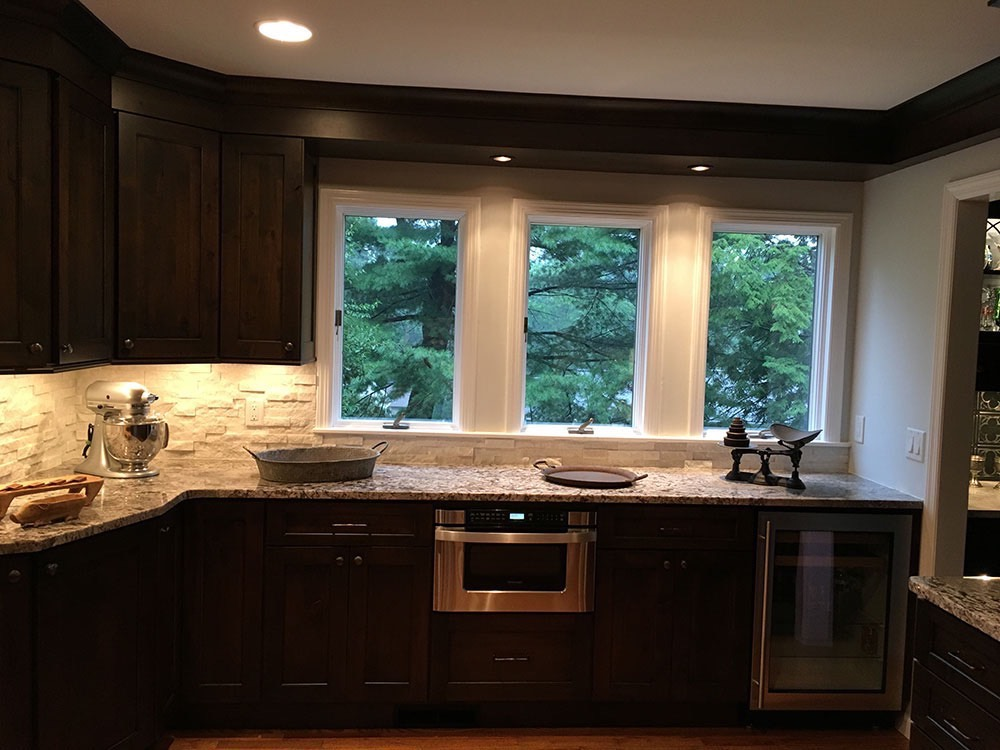 Kitchen Counter with Blender and Wine Cellar