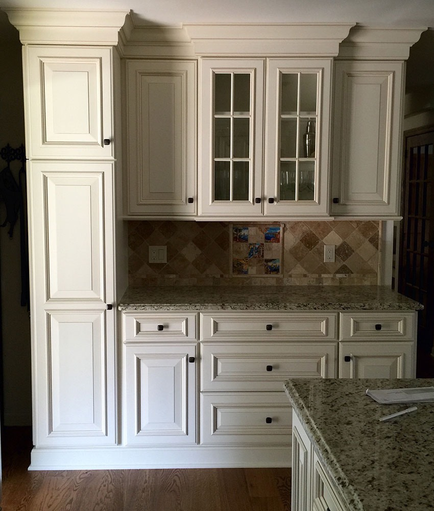 Glass Door White Cabinets with Gradient Top