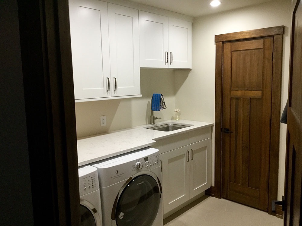 Laundry Room Cabinet and Sink White