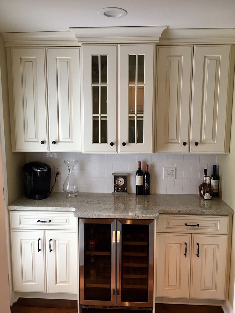 White Cabinets with Glass Door and Wine