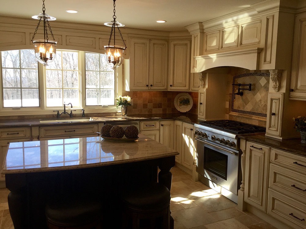 Kitchen with Counter Middle and Fruit