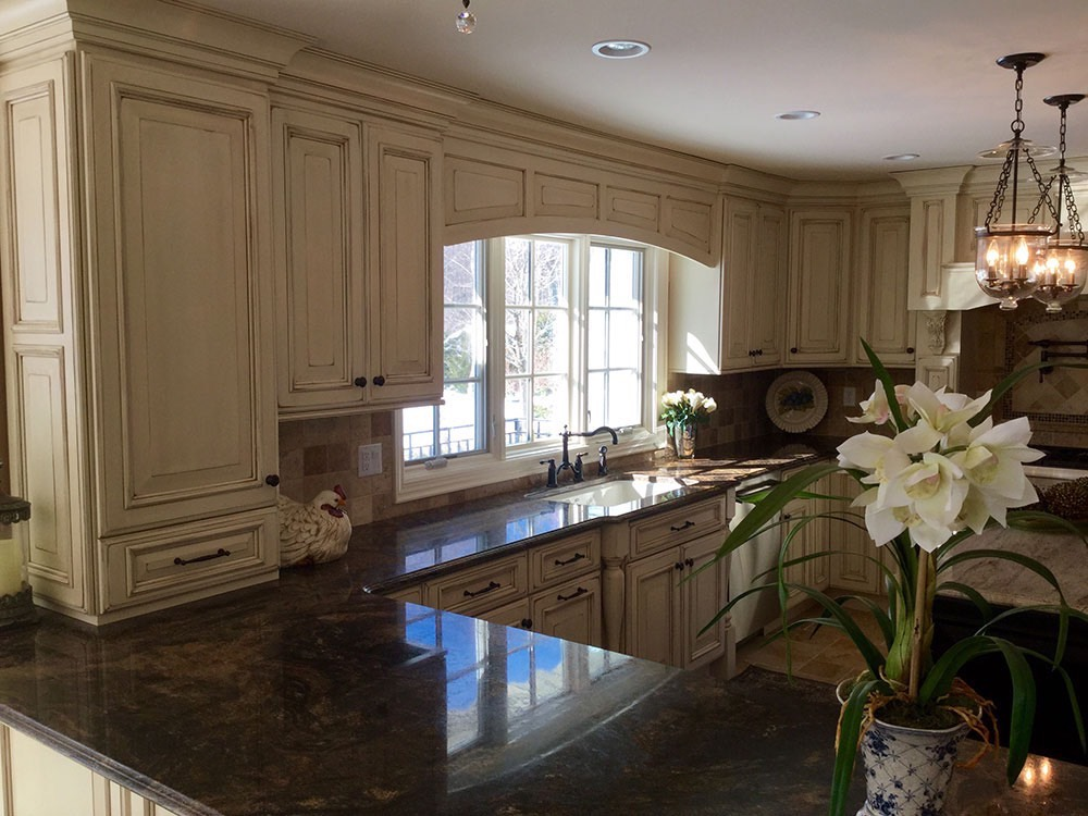 White Cabinets Kitchen Top Flower