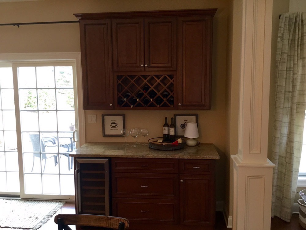 Kitchen Counter with Wine Glasses