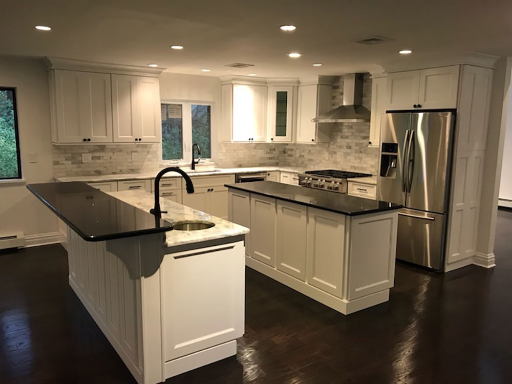Two Kitchen Counters in Middle