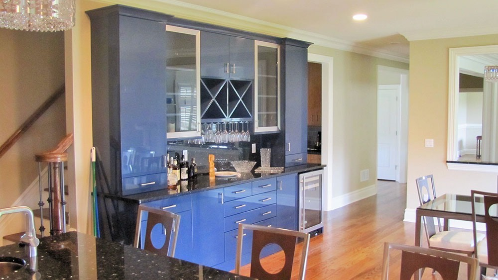 Blue Kitchen Counter with Wine Glasses