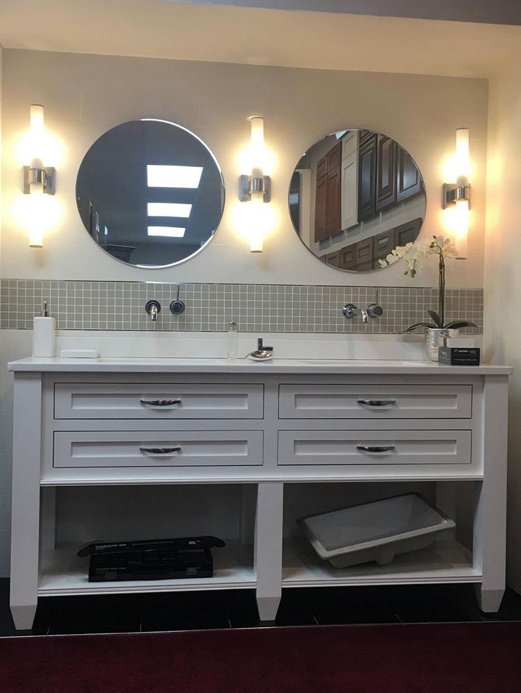 White Bathroom Sink with Duel Mirrors