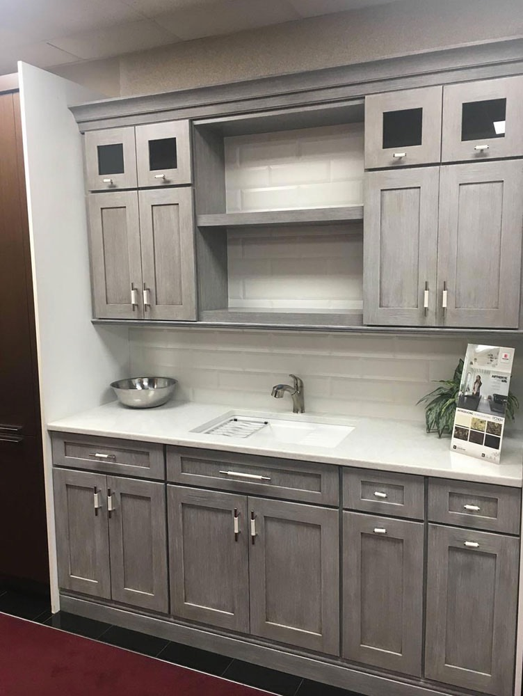 Grey White Kitchen Sink with Cabinets