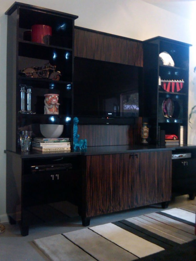 Black Cabinets with TV in Family Room