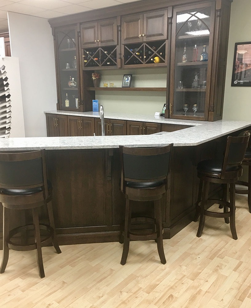 wood glass wine storage with kitchen bar
