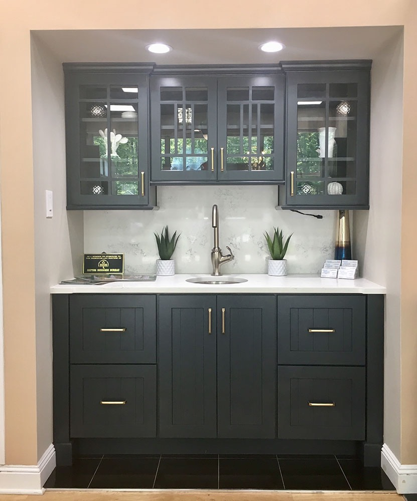 Black glass bathroom cabinets