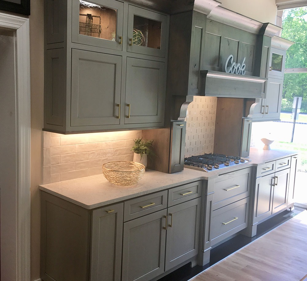 Green Gray Kitchen Stove with Cook on Top